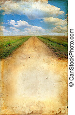 Country Road on a Grunge background - Country Road on Grunge...