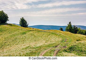 country road through mountain ridge. lovely countryside...