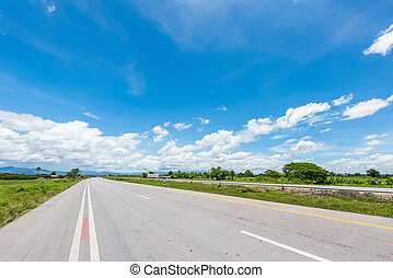 country road with blue sky in thailand