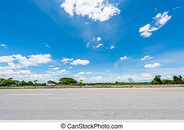 country road with blue sky in thail