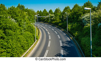 country road with trees beside. Asphalt road
