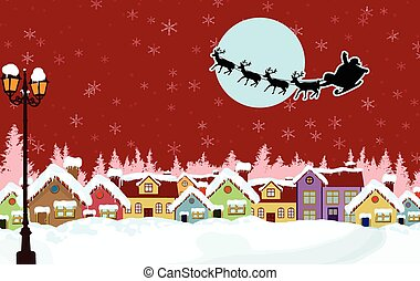 Country rural snowy in the Christmas Night with Santa's...