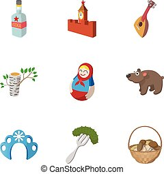 Country Russia icons set, cartoon style