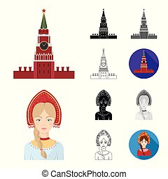 Country Russia, travel cartoon, black, flat, monochrome, outline icons in set collection for design. Attractions and features vector symbol stock web illustration.