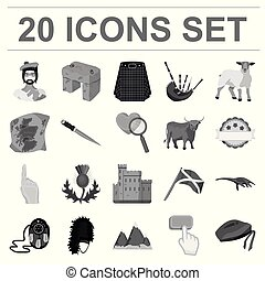Country Scotland monochrome icons in set collection for...