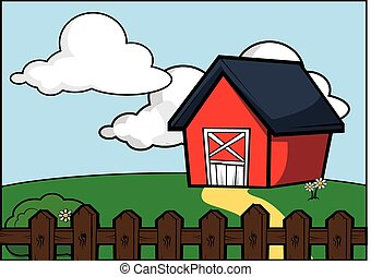 country side farm house scenery