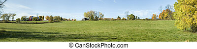 Country side panoramic landscape with grass and trees