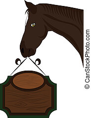 Country Signboard Horse Vector - Horse head holding a wooden...