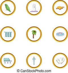 Country Singapore icons set, cartoon style