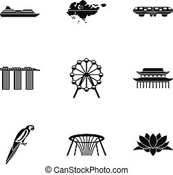 Country Singapore icons set, simple style
