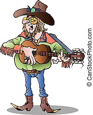 Vector cartoon illustration of a country singer male