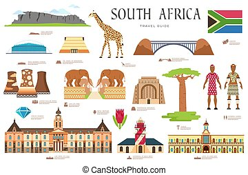 Country South Africa travel vacation guide of goods, places and features. Set of architecture, fashion, people, items, nature background concept. Infographic template design on flat style
