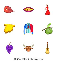 Country Spain icons set, cartoon style