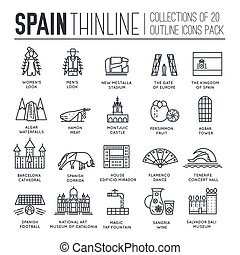Country Spain thin line travel vacation guide of goods, places and features. Set of outline architecture, fashion, people, items, nature background concept. Infographic template design  on flat style