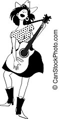 Young girl in country-western clothes singing and playing guitar, EPS 8 vector line illustration, no white objects