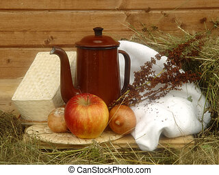 Country stil-life - Stil-life with apple and onions