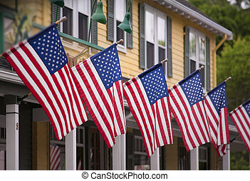 Country store on july fourth - Country store draped with...