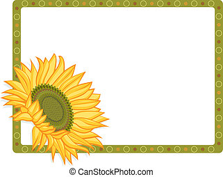 Country Sunflower border - Vector illustration of bright...