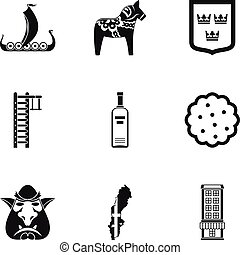 Country Sweden icons set, simple style