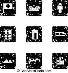 Country Switzerland icons set, grunge style