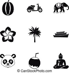 Country Thailand icons set, simple style