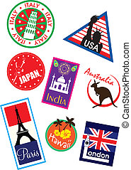 Country travel sticker set