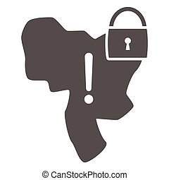 Country under lock and warning sign solid icon, economic sanctions concept, Country lockdown sign on white background, Sanctioned country icon in glyph style for mobile. Vector graphics