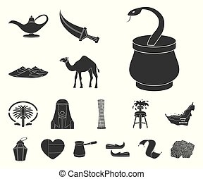 Country United Arab Emirates black icons in set collection for design. Tourism and attraction vector symbol stock web illustration.