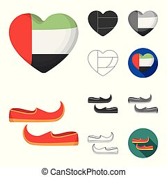 Country United Arab Emirates cartoon, black, flat, monochrome, outline icons in set collection for design. Tourism and attraction vector symbol stock web illustration.