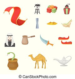 Country United Arab Emirates cartoon icons in set collection for design. Tourism and attraction vector symbol stock web illustration.