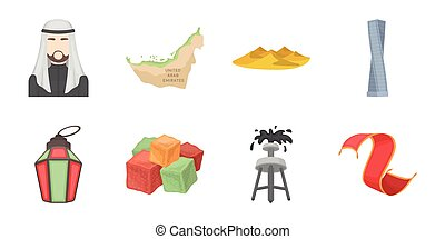 Country United Arab Emirates icons in set collection for design. Tourism and attraction vector symbol stock web illustration.