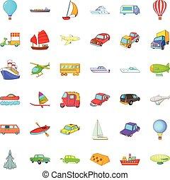 Country vehicle icons set, cartoon style