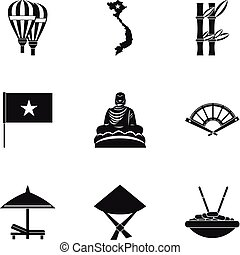 Country Vietnam icons set, simple style