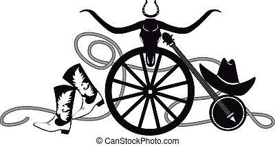 Country-western theme banner with cowboy boots and hat, banjo and buffalo scull, EPS 8 vector silhouette illustration, no white objects