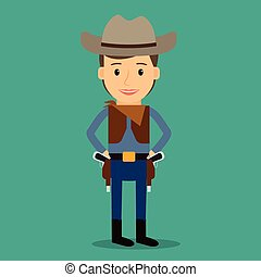 Country western. Boy dressed as cowboy. Party or birthday costume. Vector illustration.