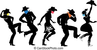 Black vector silhouette of country-western dancers  wearing colored facial covers for protection from pandemic, EPS 8, no white objects