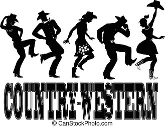 "Silhouette of people dressed in Western style clothes, dancing, words ""country-western"" on the bottom, no white, EPS 8"