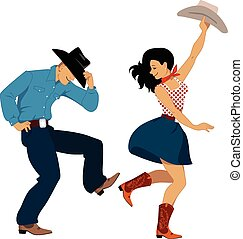 Country western dancers - Cowboy and cowgirl dancing country...