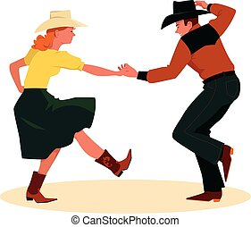 Couple dancing Country Western, rear view, EPS 8 vector illustration, no transparencies