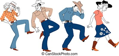 People in traditional western clothes dancing country-western style, EPS 8 vector illustration