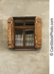 Country window with shutters