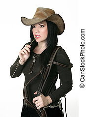 Country woman carrying a bridle