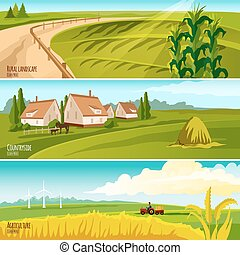 Countryside 3  Horizontal Flat Banners Set