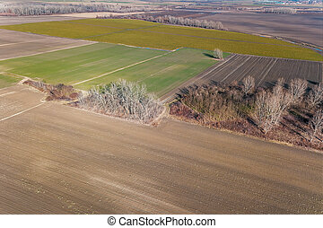 Countryside, Agricultural Landscape Aerial view.