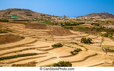 Countryside at island Gozo, Malta