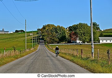 Countryside Bike Rider - A lone bike rider pedals down a...