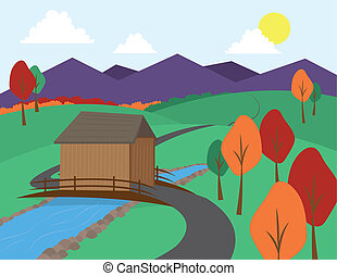 Countryside scene with winding road and mountains