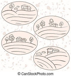 Countryside drawings - houses landscape labels
