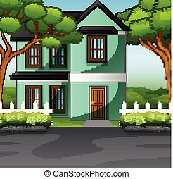 Countryside family house with front yard lawn concept