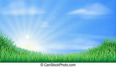 Countryside field and sun rise background with beautiful blue sky